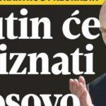 Gazeta e Beogradit: Putin do ta njohë Kosovën, si një shërbim ndaj Trump