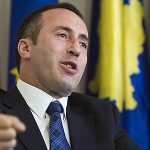 """Kosovo's former prime minister Ramush Haradinaj gestures during an interview  with The Associated Press in Kosovo's capital Pristina Tuesday, April 22, 2008. Kosovo's former prime minister, acquitted of killing Serbs by a United Nations war crimes tribunal called upon ethnic Albanians Tuesday to make a """"proper offer"""" for the Serb minority to overcome their objections to Kosovo's independence. Haradinaj urged governments around the world Tuesday to help peace in the Balkans by recognizing Kosovo's independence. """"We call upon other countries to recognize us as an independent state,"""" Haradinaj told the Associated Press in an interview Tuesday. """"It would be the right input to normalization and peace in the region"""". Kosovo's independence has been swiftly recognized by  38 countries, including the United States, Japan, Canada and most member countries in the European Union. (AP Photo/Visar Kryeziu)"""
