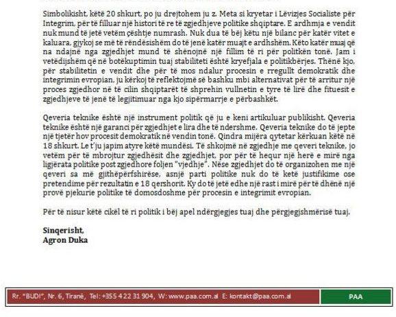 Agron Duka nis negociatat. Letër Ilir Metës për takim për qeveri teknike