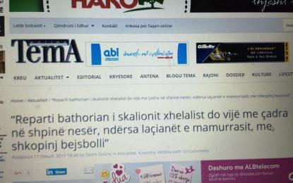 """Naiviteti i gazetës TEMA (online) me një shkrim ironik te """"Koha Jone"""" online"""