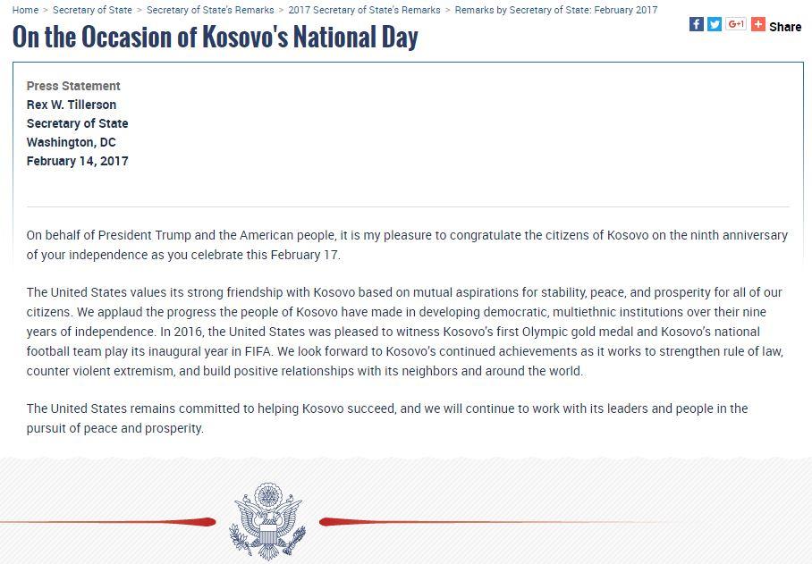 Mesazhi i Trump dhe Tillerson për pavarësinë e Kosovës
