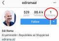 E ndjekin 88 mijë persona në Instagram, por Edi Rama ndjek vetëm njërin