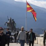 epa05832769 People walk on the old Stone Bridge in Skopje, The Former Yugoslav Republic of Macedonia, 06 March 2017. The Ministers of Foreign Affairs of the European Union member countries will hold a meeting to discuss the situation in the western Balkan countries. The political situation in Macedonia is at an impasse due to the President Gjorge Ivanov's opposition to a coalition of Social Democrat and ethnic Albanian political parties forming a government.  EPA/GEORGI LICOVSKI