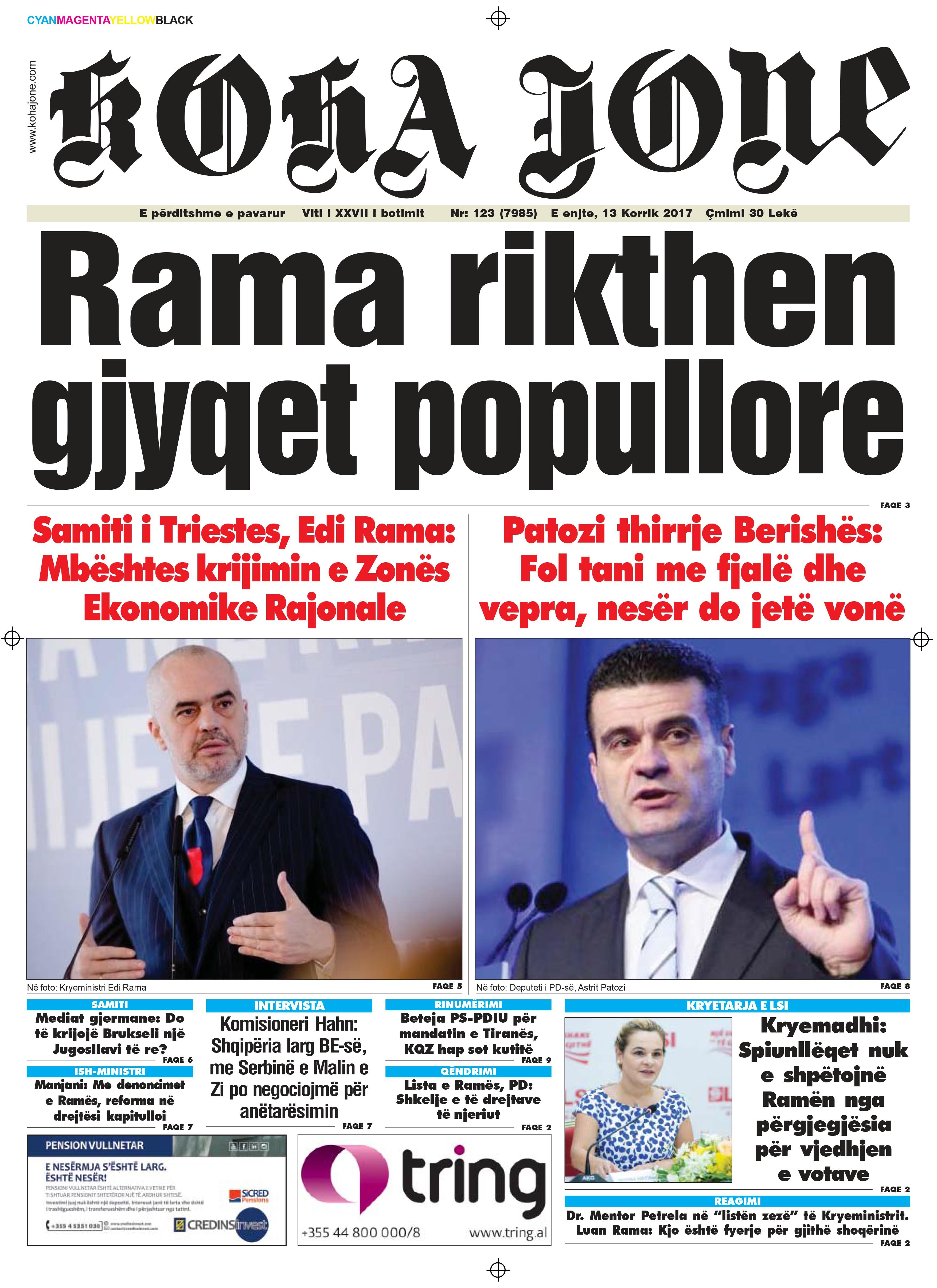 Zeitungen Kohajone heute 13. August 2016