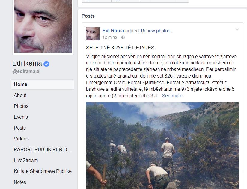 Shqipëria po digjet. Reagimi i parë i Edi Ramës: Shteti në krye të detyrës!