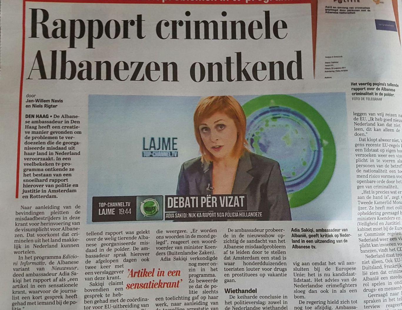 """Gazeta hollandeze """"De Telegraaf"""" nxjerr zbuluar ambasadoren shqiptare"""